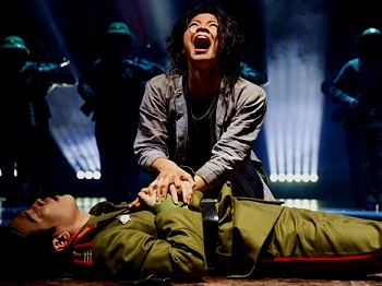 Eva Noblezada as Kim and Kwang Ho Hong as Thuy in the London revival of MISS SAIGON (Photo credit: Matthew Murphy)