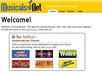 The homepage of the once wonderful website, Musicals.Net
