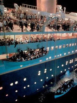 The ship sinks in the film of  TITANIC