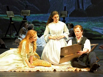Ruthie Henshall as Marian Halcombe, Alexandra Silber as Laura Fairlie and Damian Humbley as Walter Hartright in THE WOMAN IN WHITE