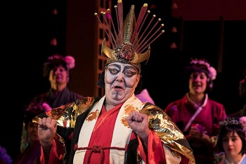 Caucasian actor Peter Kramer as the Japanese Mikado in the Cape Town Gilbert and Sullivan Society's production.