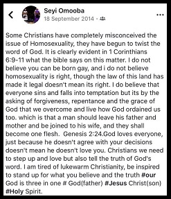 Seyi Omooba's post on Twitter